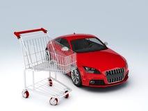 negozio dell'automobile 3d Concetto di vendita - mano con la lente d'ingrandimento Fotografia Stock