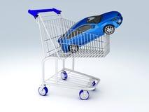 negozio dell'automobile 3d Concetto di vendita - mano con la lente d'ingrandimento Fotografie Stock