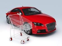 negozio dell'automobile 3d Concetto di vendita - mano con la lente d'ingrandimento Fotografia Stock Libera da Diritti