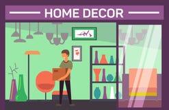 Negozio della decorazione della Camera con il compratore e gli accessori domestici illustrazione di stock