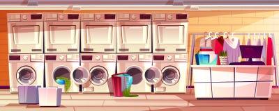 Negozio della lavanderia, illustrazione di vettore della stanza della lavanderia automatica illustrazione vettoriale