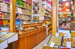 Negozio della spezia a Kerman, Iran immagini stock libere da diritti