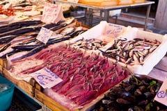 Negozio di alimentari al capo locale famoso del mercato a Palermo, Italia fotografia stock