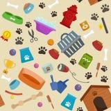 Negozio di animali, merci del cane e rifornimenti, prodotti del deposito per cura illustrazione vettoriale