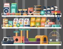 Negozio di animali o vetrina del deposito con alimento animale illustrazione vettoriale