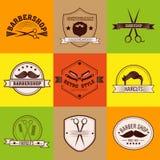 Negozio di barbiere Logo del barbiere Barber Label Stile del signore Fotografie Stock