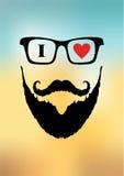 Negozio di barbiere per lo stile degli uomini con l'immagine di un uomo con una barba Fotografia Stock