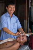 Negozio di barbiere vietnamita dell'aria aperta Immagini Stock
