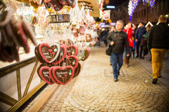 Negozio di Candy sul mercato di Natale Fotografia Stock