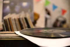 Negozio di dischi del vinile - musica immagini stock