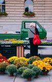 Negozio di fiore al mercato Bundesplatz, Berna - Svizzera di mattina immagine stock libera da diritti