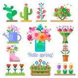 Negozio di fiore Ciao primavera ed estate illustrazione di stock