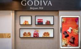 Negozio di Godiva a Bangna mega, Bangkok, Tailandia, il 12 aprile 2018 fotografia stock