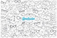 Negozio disegnato a mano degli occhiali messo con iscrizione Immagini Stock Libere da Diritti