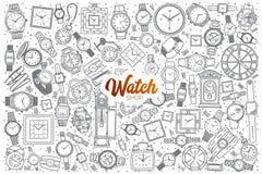 Negozio disegnato a mano dell'orologio messo con iscrizione Fotografie Stock Libere da Diritti