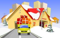 Negozio e camion di consegna royalty illustrazione gratis