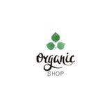 Negozio organico Distintivo di Eco con testo e le foglie scritti a mano nello stile dell'acquerello Immagini Stock