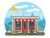 Negozio quotidiano dei prodotti in città illustrazione di stock
