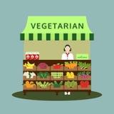 Negozio vegetariano con la verdura e la frutta, illustrati di vettore dell'alimento Immagini Stock Libere da Diritti