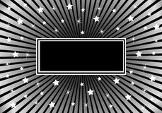 Negro abstracto del fondo y estrellas blancas de plata Imagen de archivo libre de regalías