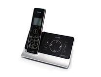 Negro aislado y teléfono sin cuerda de plata Imagen de archivo libre de regalías