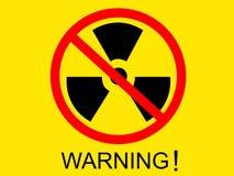 Negro amonestador del símbolo del icono de la radiación en la pantalla amarilla con palabra amonestadora Imagen de archivo libre de regalías