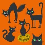 Negro asustadizo Cat Collection de Halloween ilustración del vector