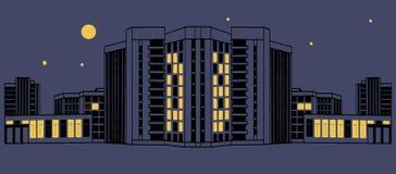 Negro azul eps10 del ejemplo del vector de la noche de la arquitectura del edificio Fotografía de archivo libre de regalías