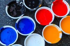 Negro, azul, rojo, blanco, amarillo Imagenes de archivo