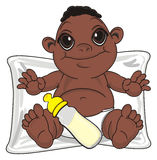 Negro baby boy and different objects. Smiling baby boy with black skin sit on the pillow with a drink with pacifier Royalty Free Stock Photo