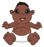 Negro baby boy. Funny baby boy sit and smiling Royalty Free Stock Photo