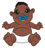 Negro baby boy with a pacifier. Negro baby boy sit and hold a blue nipple on his mouth Stock Image