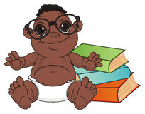 Negro baby boy read a book. Smiling baby boy with black skin in glasses sit with many books Stock Photo