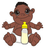 Negro baby with drink. Smiling baby boy with black skin sit with bottle of milk Stock Images