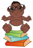 Negro baby and education`s objects. Happy baby boy with black skin in glasses sit top on the many books Stock Photo