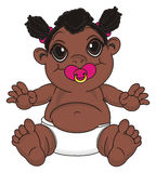 Negro baby girl with a pacifier. Smiling baby girl with black skin sit and hold a pink nipple on her mouth Stock Images