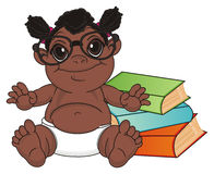 Negro baby girl ready to study Royalty Free Stock Images