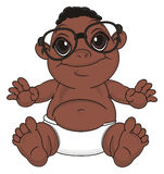 Negro baby in glasses. Smiling baby boy with black skin in black glasses sit Royalty Free Stock Photo