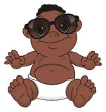 Negro baby in sunglasses. Cute baby boy with black skin in large black sunglasses sit Royalty Free Stock Photography