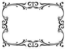 Negro barroco rizado del marco de la caligrafía de la caligrafía Imagenes de archivo