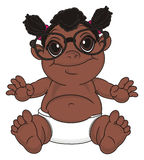 Negro bay girl in glasses. Happy baby girl in black large glasses sit and watch Royalty Free Stock Image