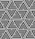 Negro, blanco y Grey Striped Triangle Pattern inconsútiles Efecto visual del volumen Fotos de archivo