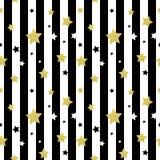 Negro, blanco y modelos inconsútiles de las estrellas del oro ilustración del vector