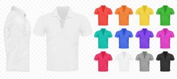 Negro, blanco y otras camisetas básicas de los hombres de color fijados Foto de archivo libre de regalías