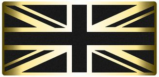 Negro BRITÁNICO de la bandera y mirada metálica del oro ilustración del vector