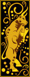 Negro chino estilizado y oro - cerdo del horóscopo Imagenes de archivo