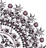 Negro con el ornamento rosado del cuadrante de la flor ilustración del vector