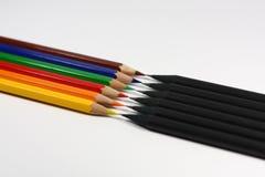 Negro contra color Foto de archivo libre de regalías