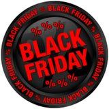 Negro de Black Friday del botón y rojo redondos ilustración del vector