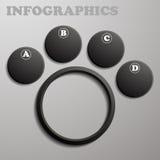 Negro de Infographic bajo la forma de etiquetas y subpárrafos numerados Imagen de archivo